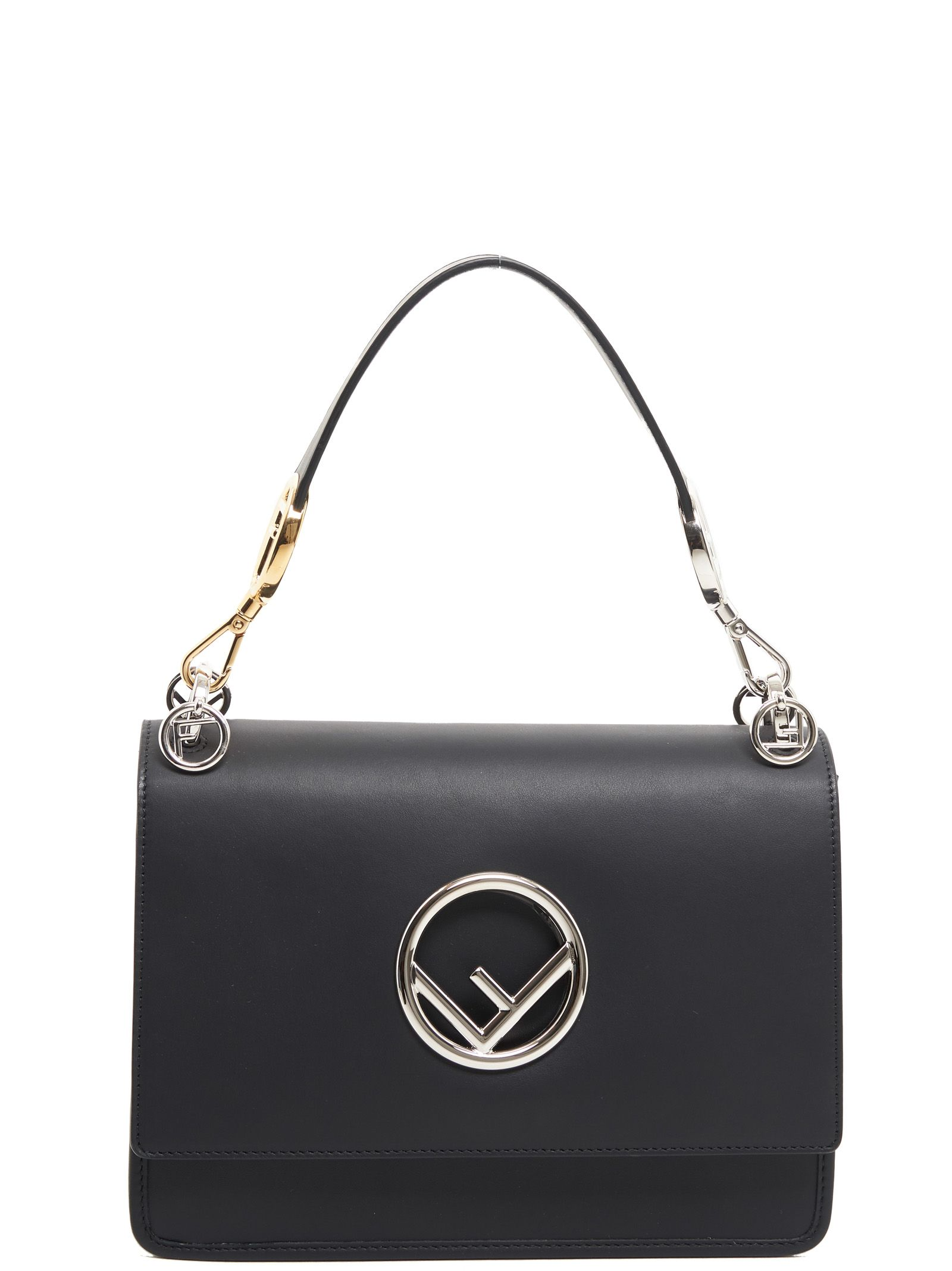 KAN I F BLACK LEATHER HANDBAG WITH LOGO