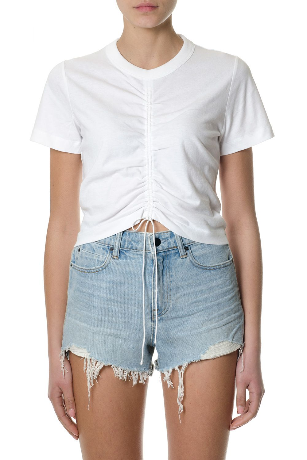 Alexander Wang White Front Gathered Cotton T-shirt