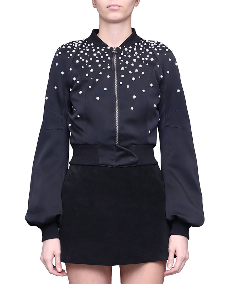 WANDERING Satin Embroidered Bomber Jacket