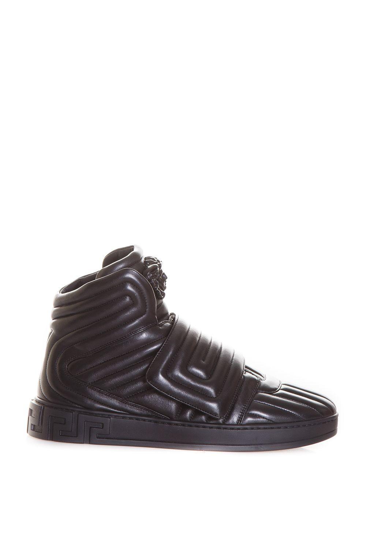 aae8f4c666c5 VERSACE Quilted Greek Key High-Top Sneakers