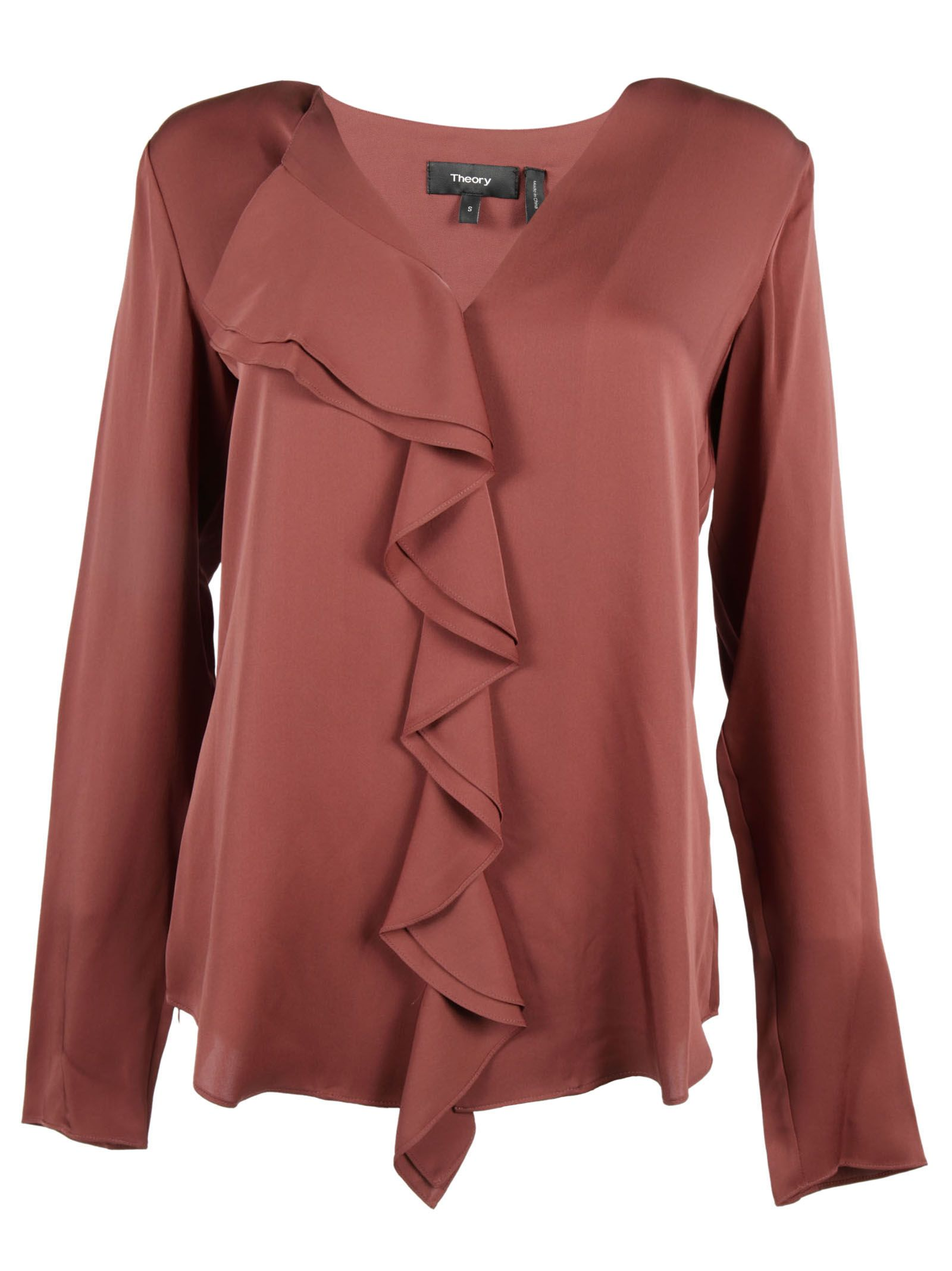 Theory Ruffle Front Blouse