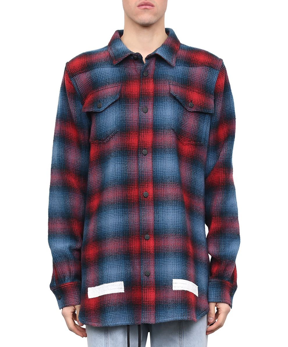 Off white off white brushed flannel shirt rosso men 39 s for White flannel shirt mens