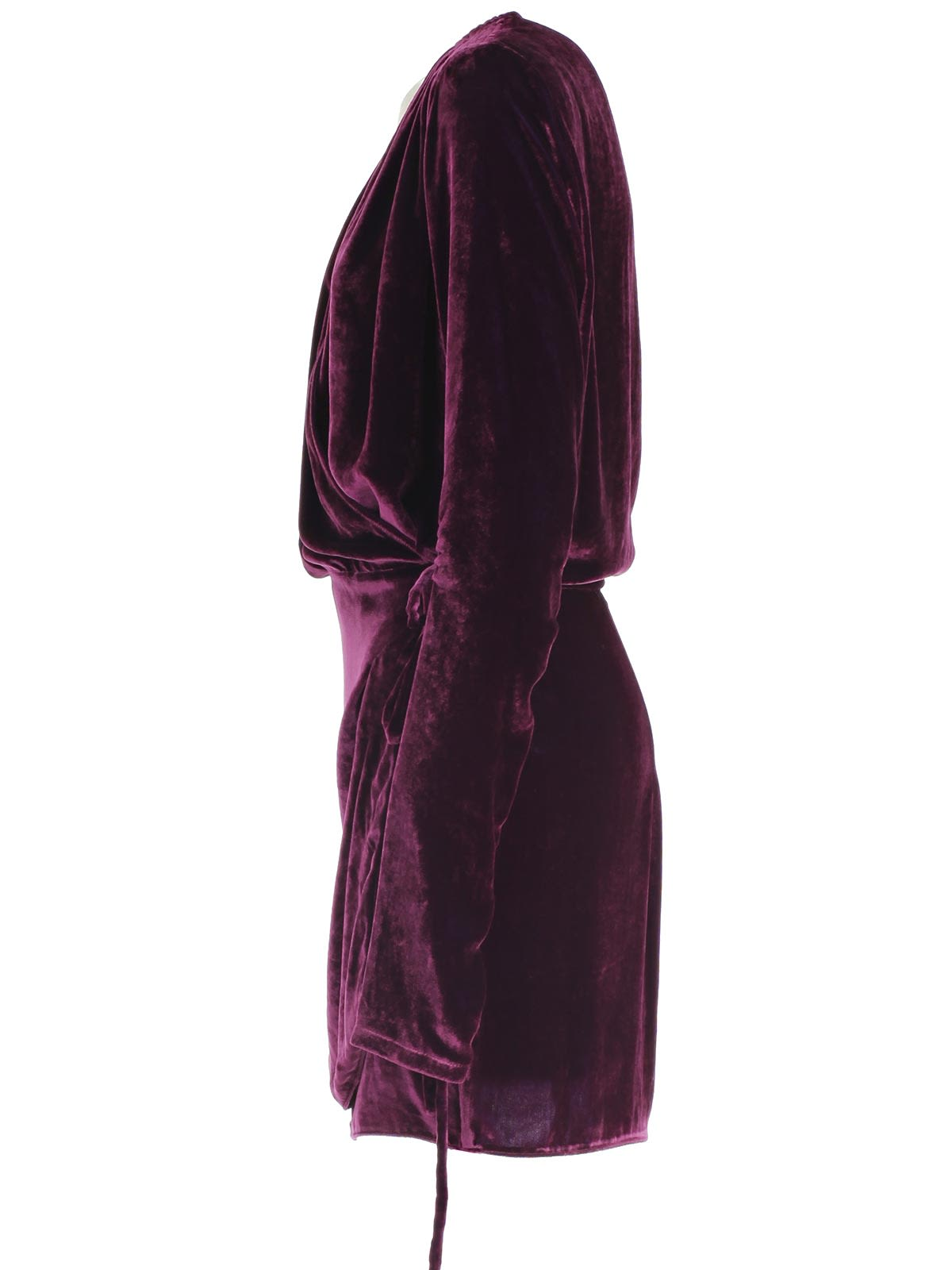 Attico Draped Velvet Maxi Dress With Silk In Purple Modesens
