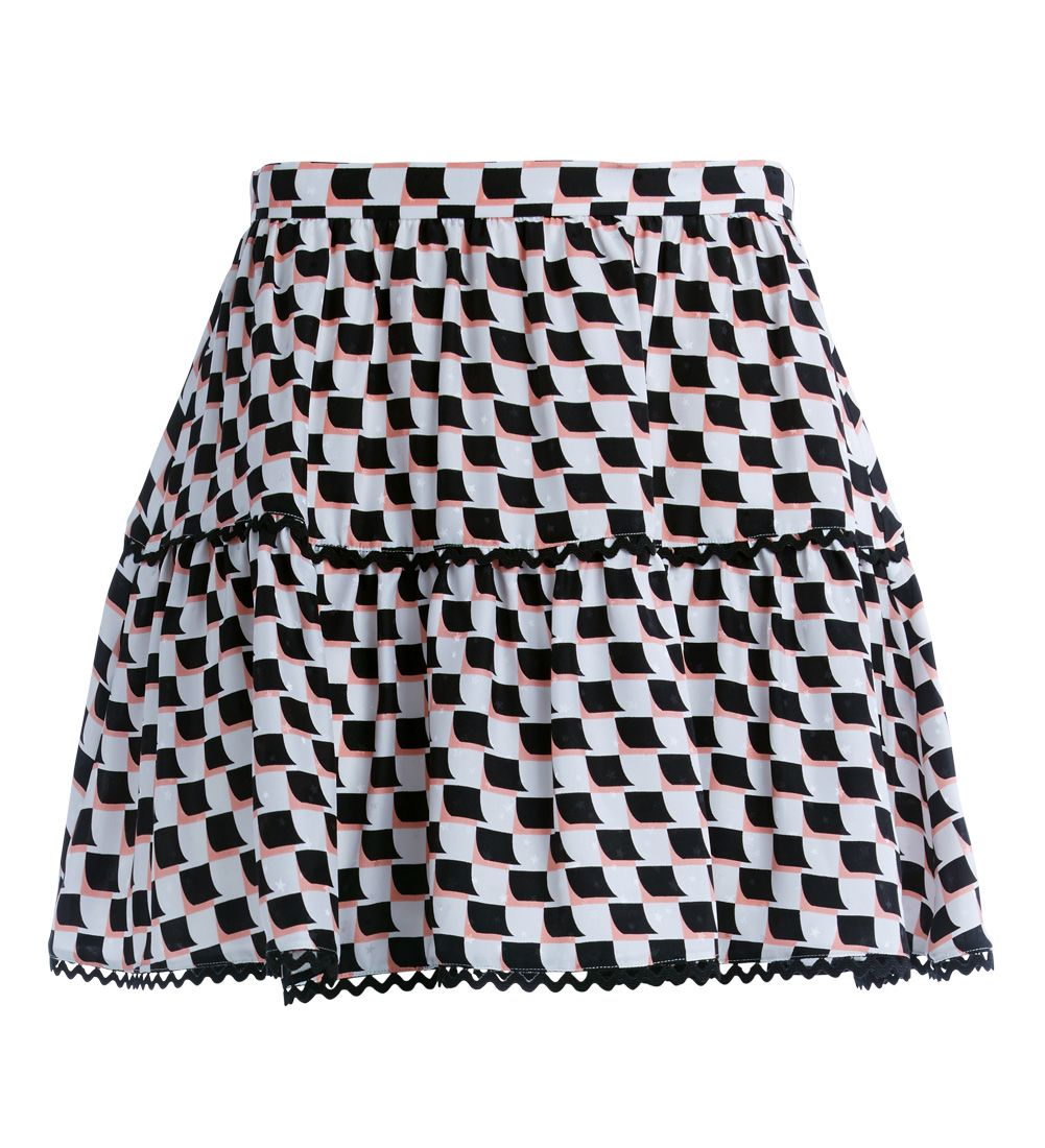Kenzo Black And Pink Patterned Short Skirt