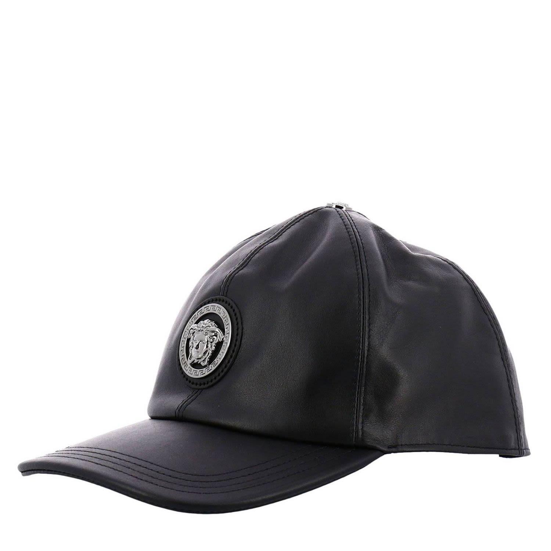Versace Leather Cap In I2008 Black  6ad0af968e7
