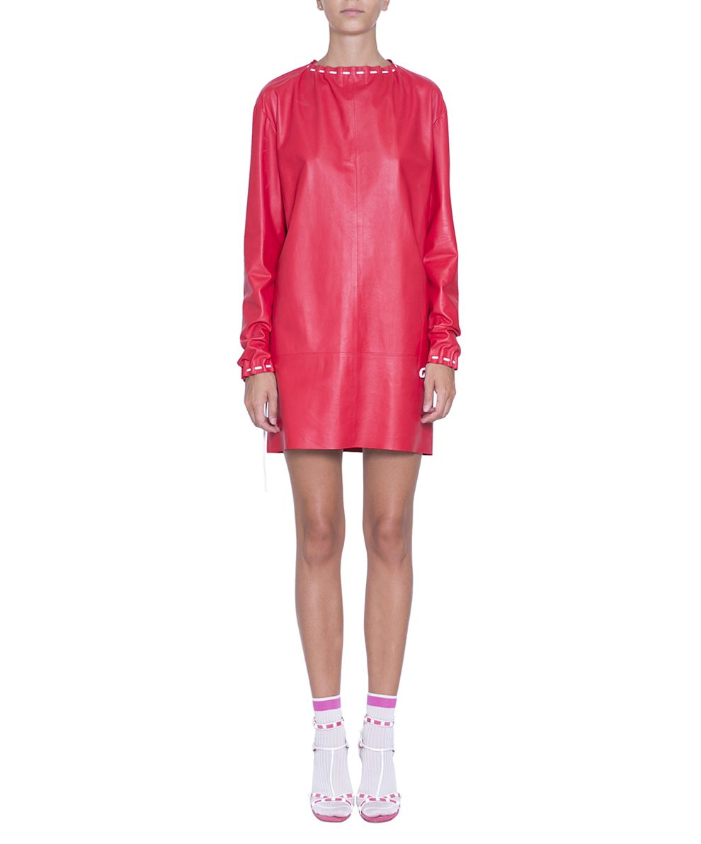 Valentino Red Leather Dress