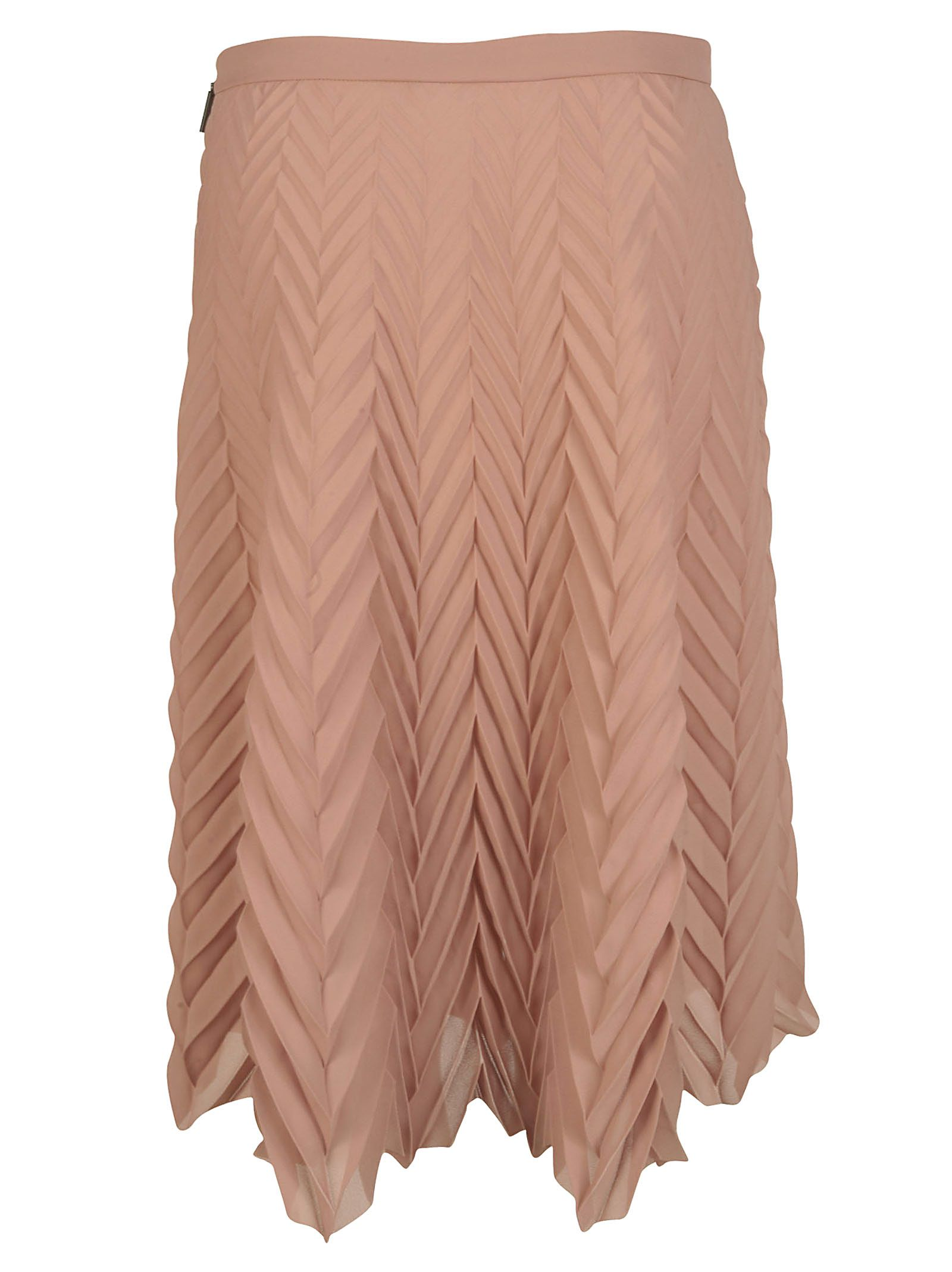 msgm msgm chevron pleated skirt beige s skirts