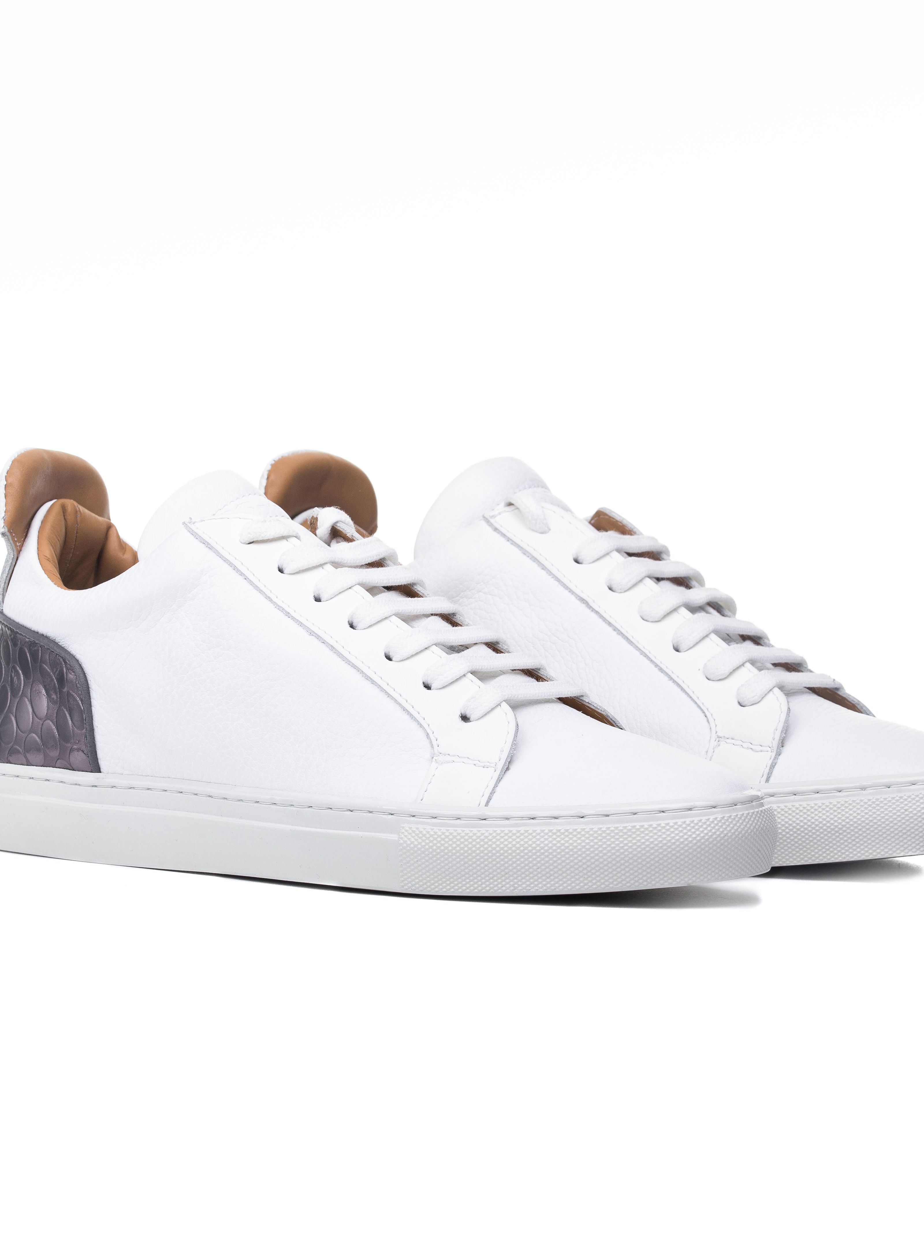 Ylati 3015 Amalfi 2.0 White Leather & Metal Bubble Low Sneakers