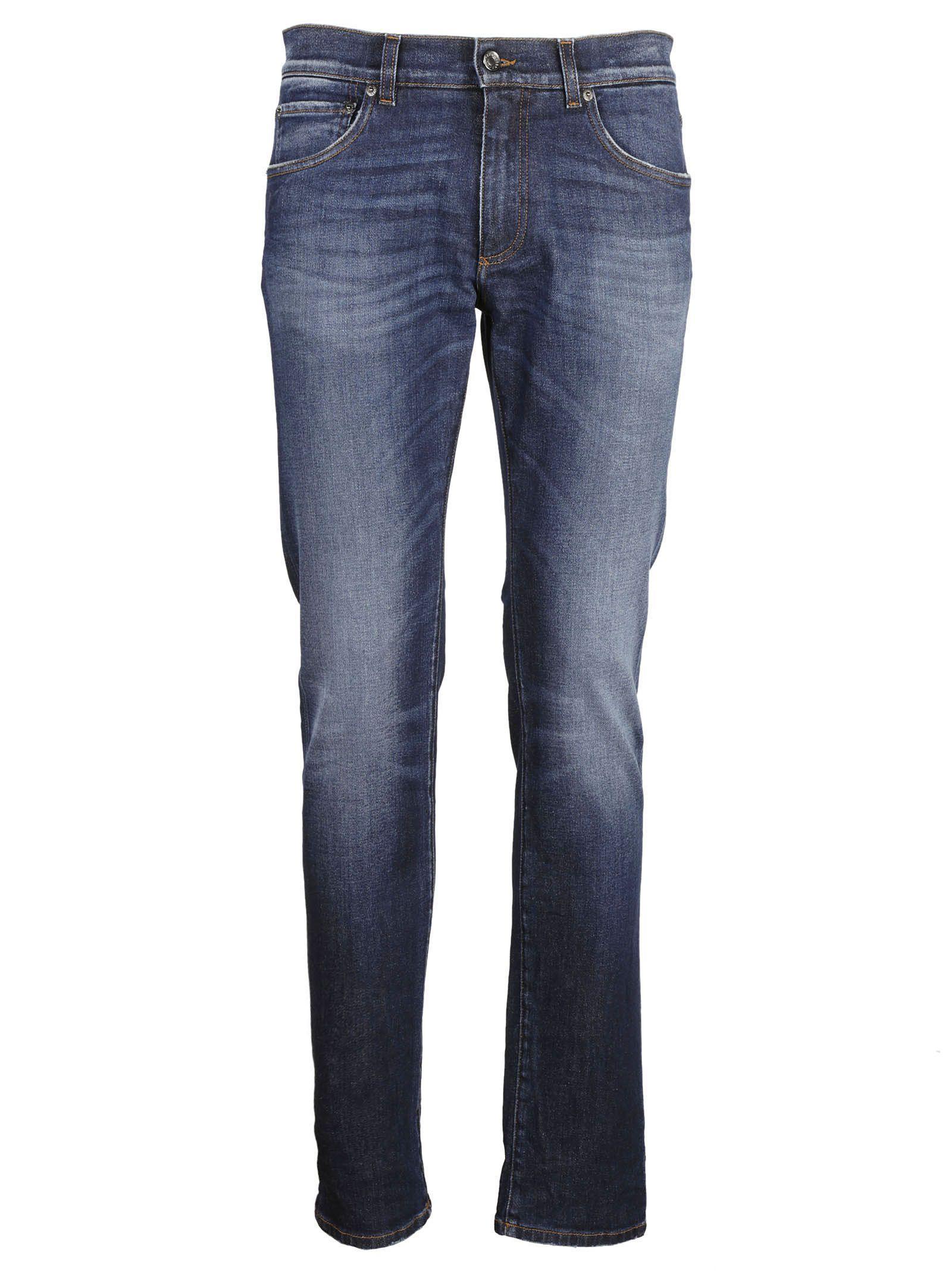 Dolce & Gabbana Leather Applique Jeans