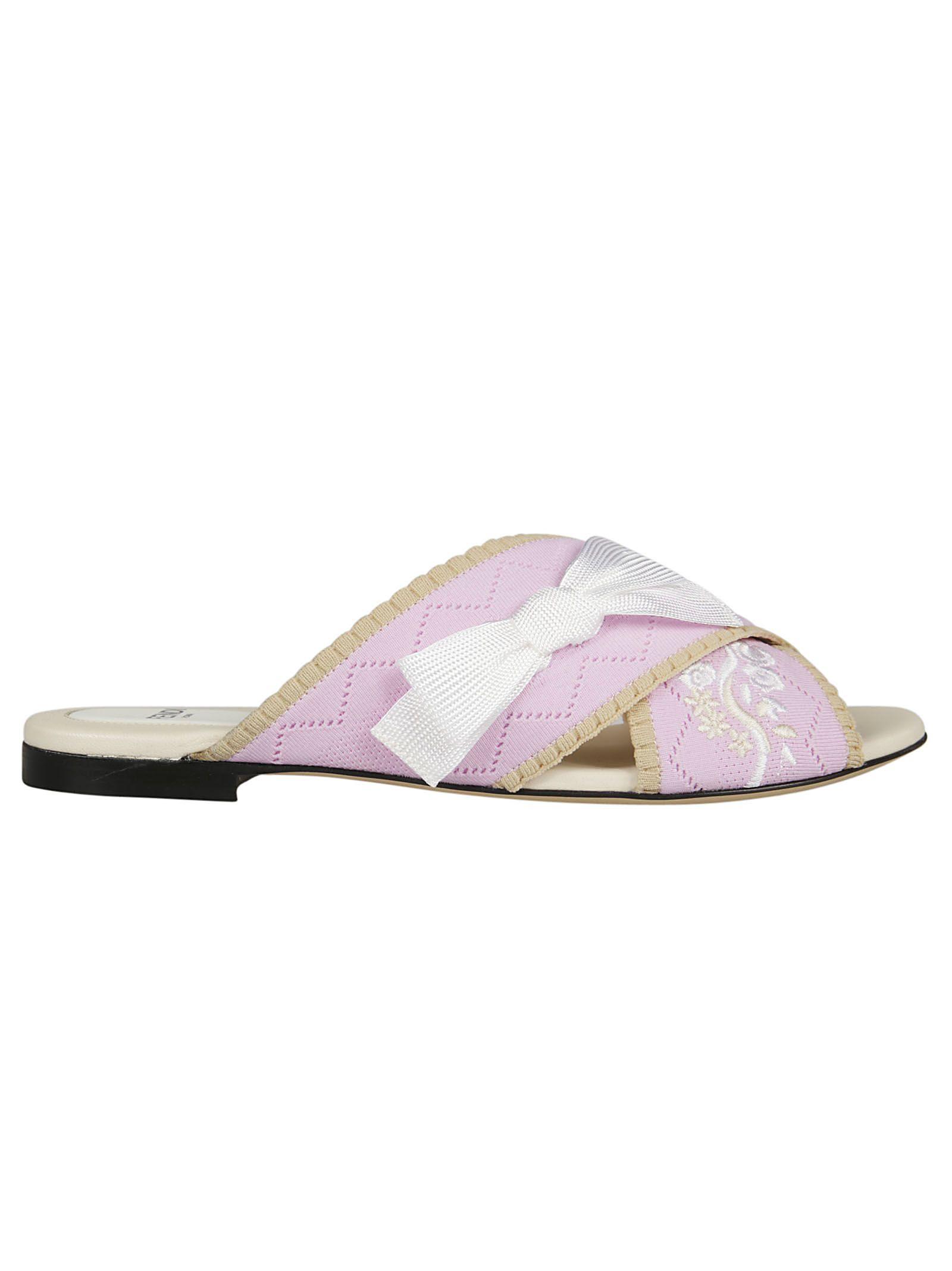 Fendi Floral Embroidered Flat Sandals
