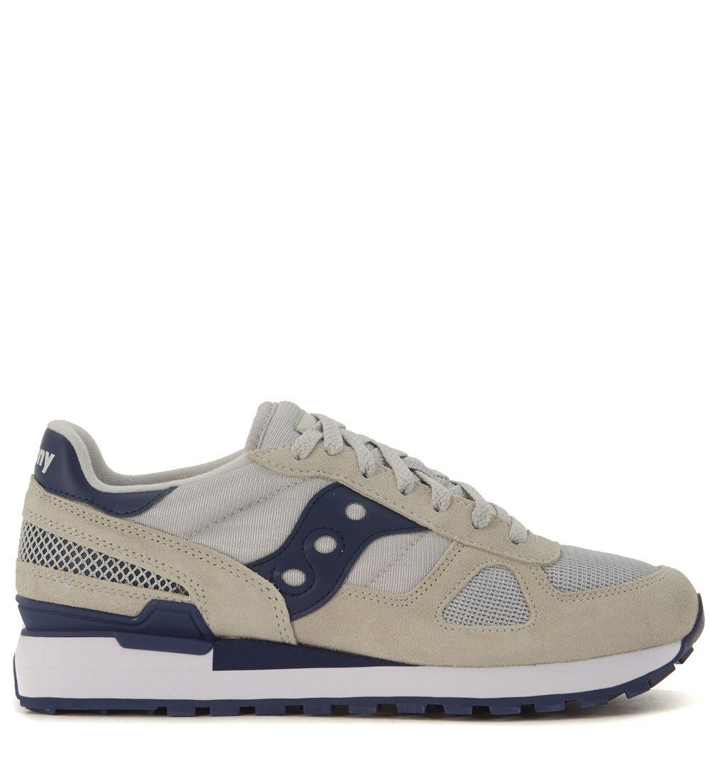Sneaker Saucony Shadow In Pelle E Tessuto Mesh Grigia E Blu