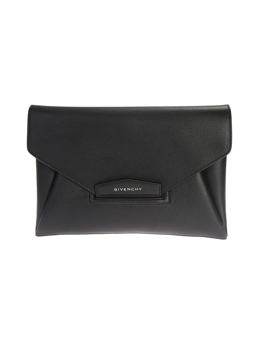 Black Leather Antigona Medium Clutch