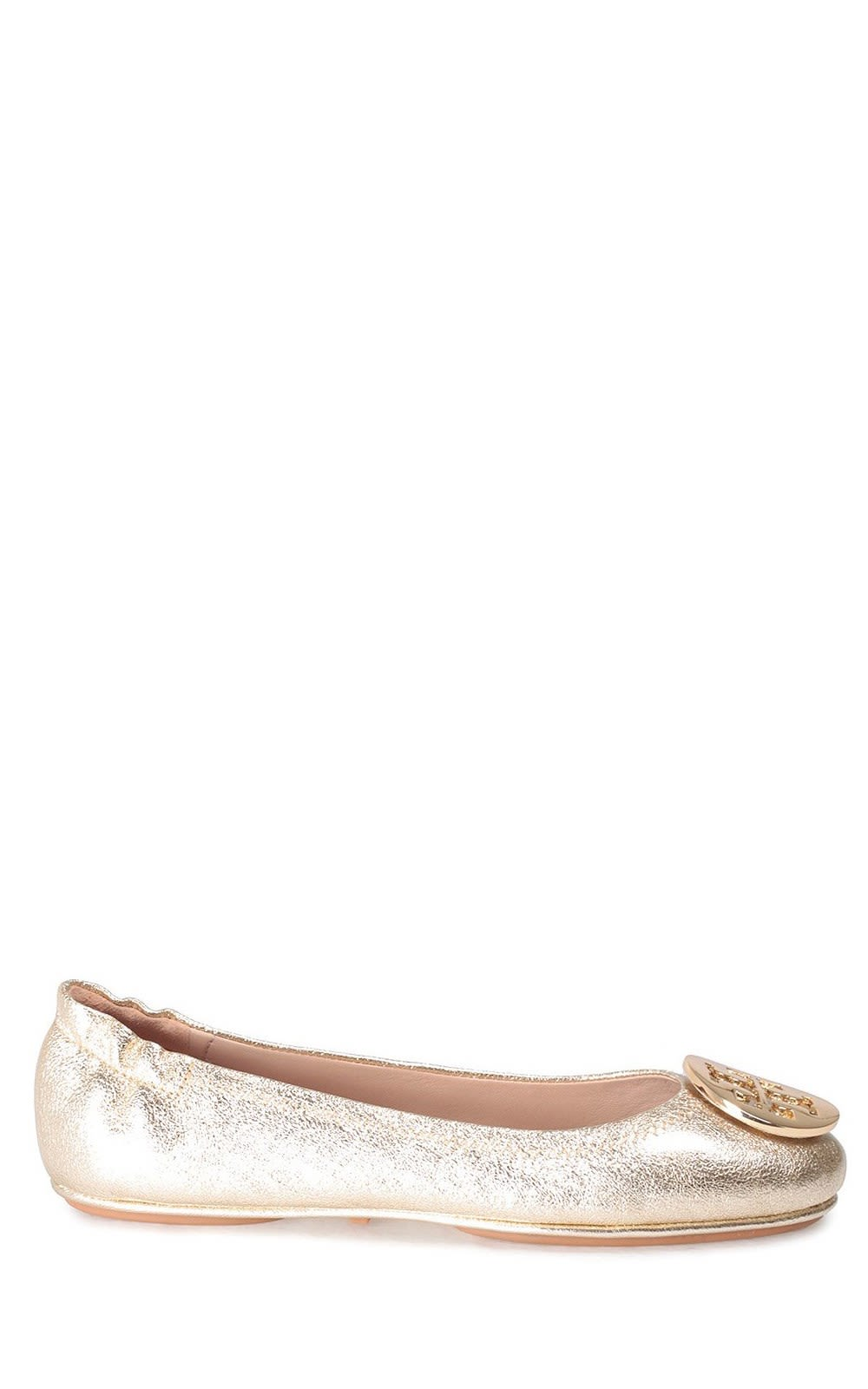 Tory Burch Minnie Travel Metallic-leather Ballet Flats
