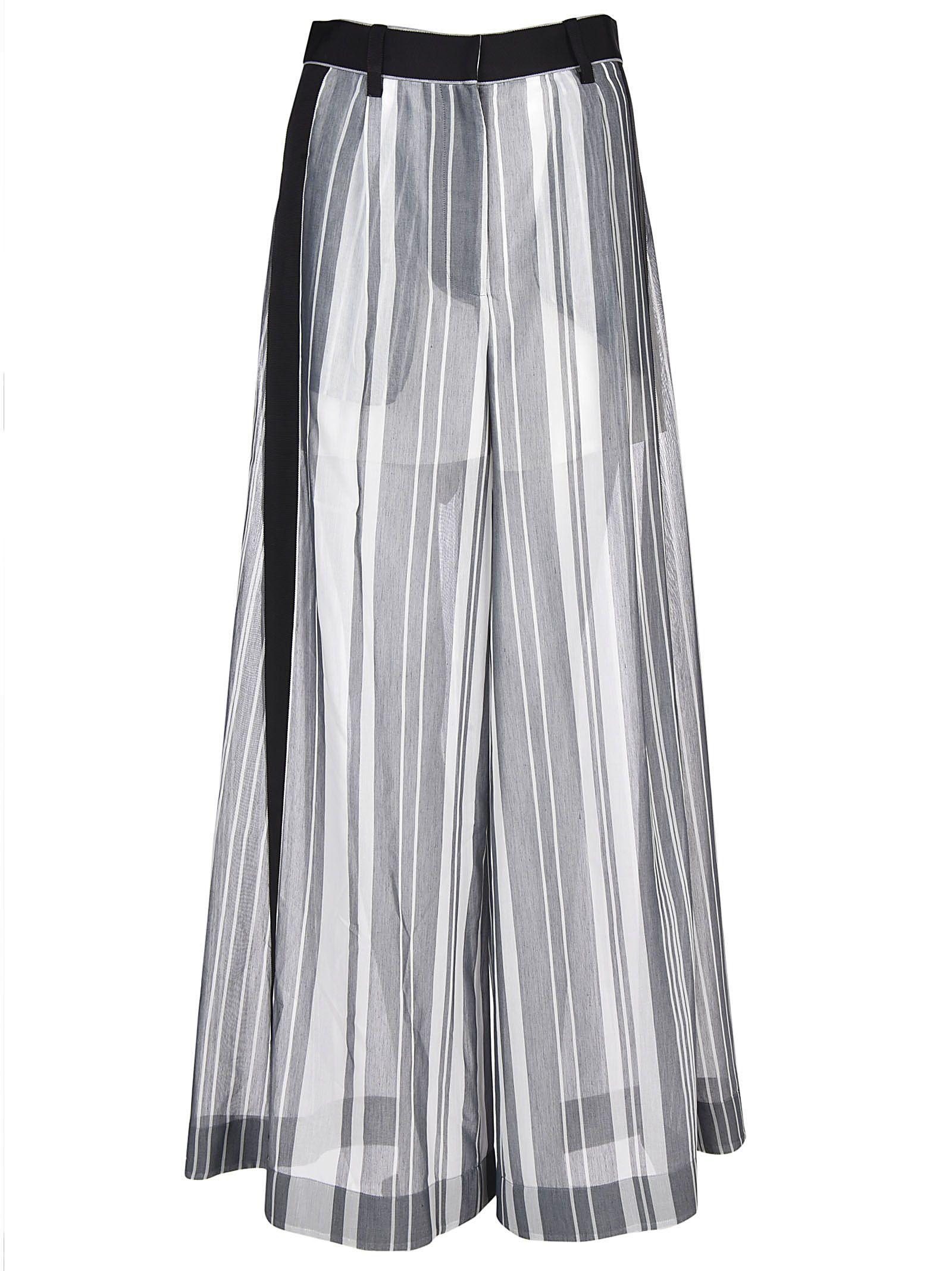 Sacai Wide Long Stripe Paneled Trousers