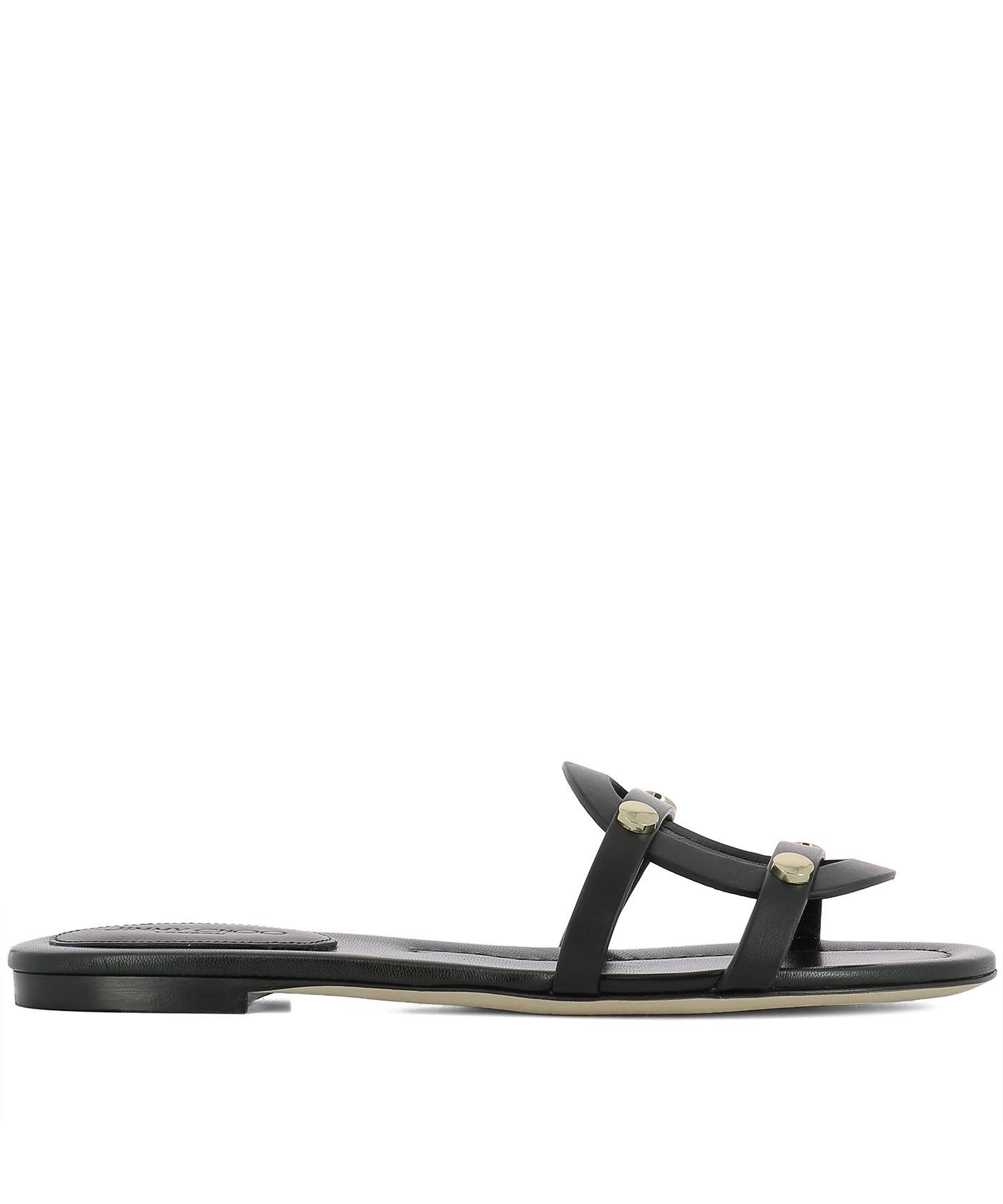 Black Leather Damaris Flat Sandals