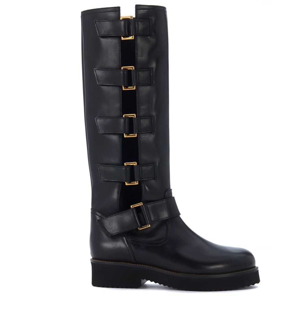 Lautre Chose York Black Leather Biker Boots With Side Buckles.