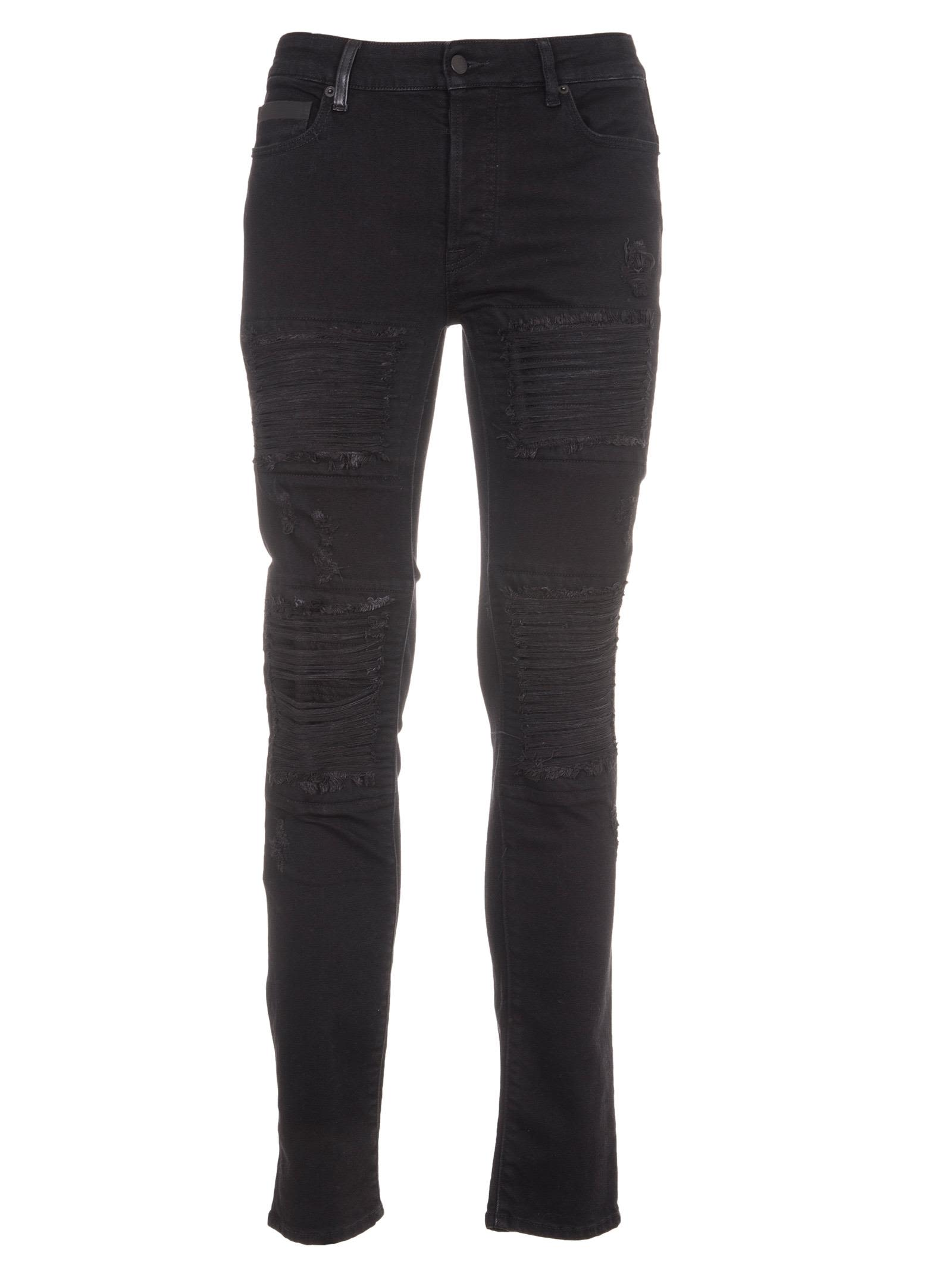 Marcelo Burlon Black Distressed Slim Jeans