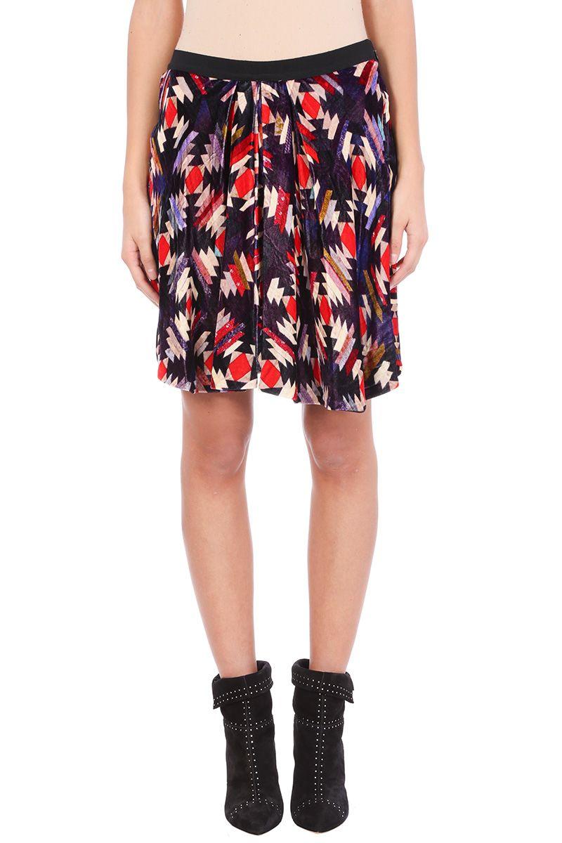 Isabel Marant Tanza Velvet Multicolor Skirt
