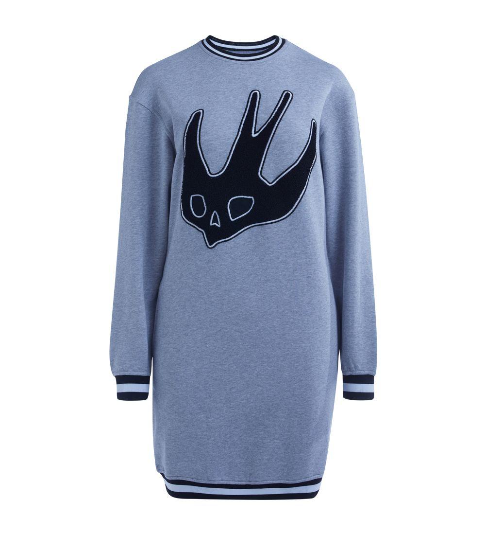 Mcq Alexander Mcqueen Swallow Grey Melange Embroidered Fleece Dress