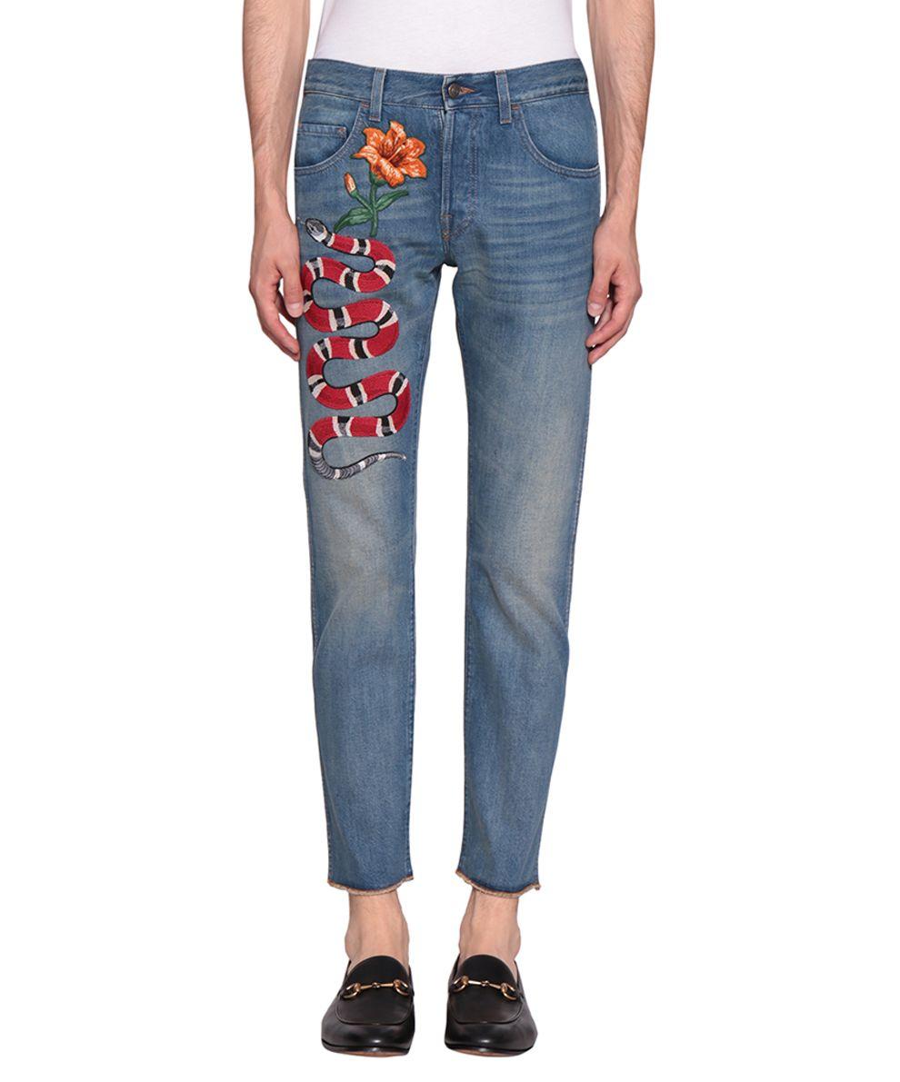 Gucci Embroidered Denim Cotton Jeans