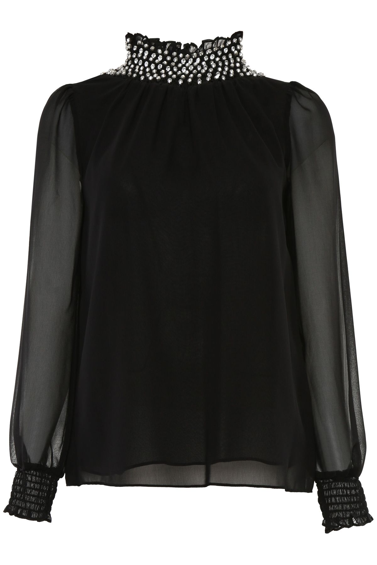Blouse With Crystals On The Neck