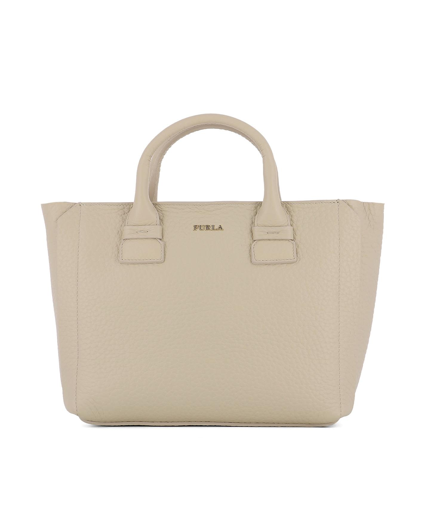 Beige Leather Handle Bag