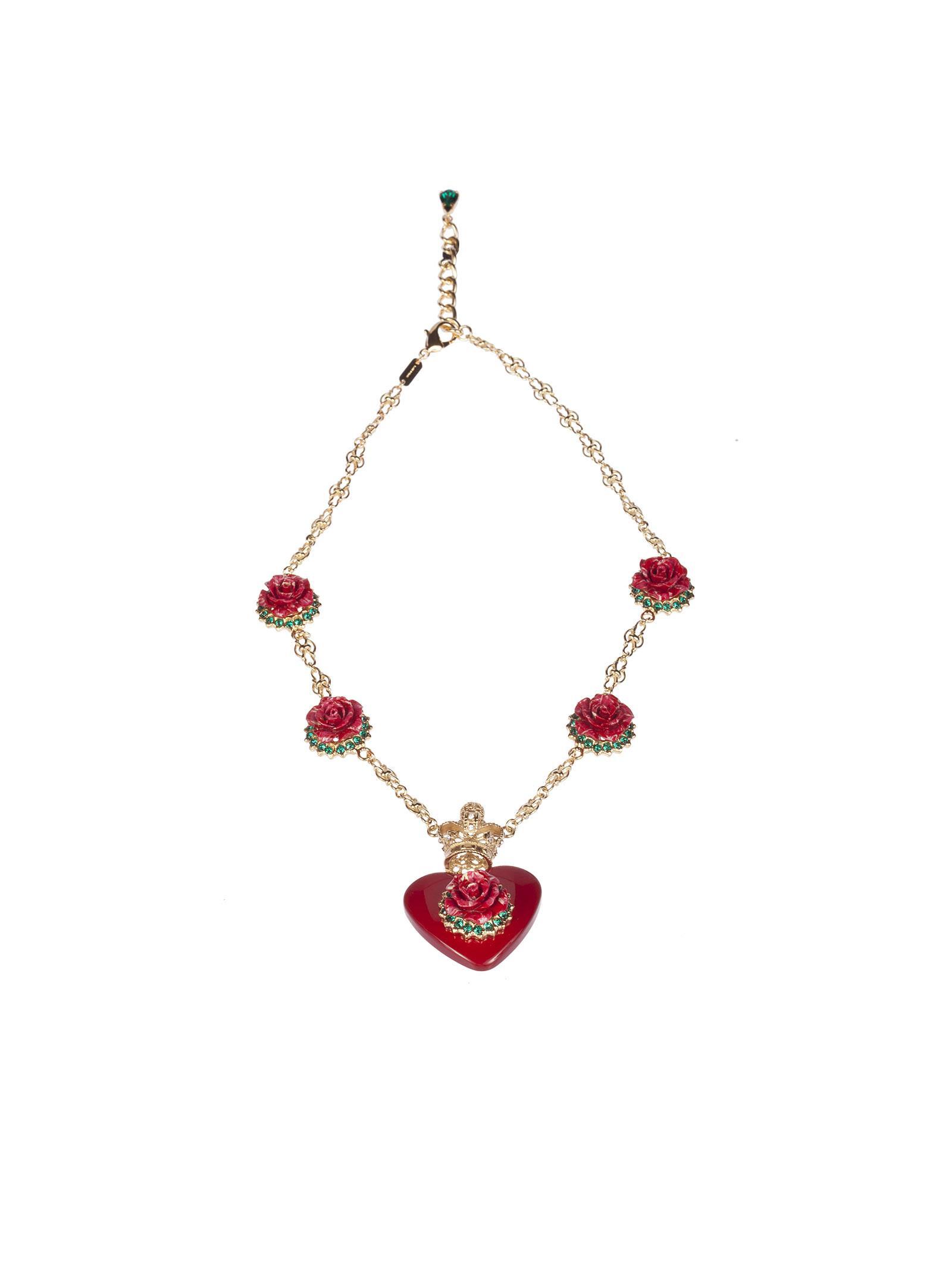 Dolce & Gabbana Heart Rose Pendant Necklace