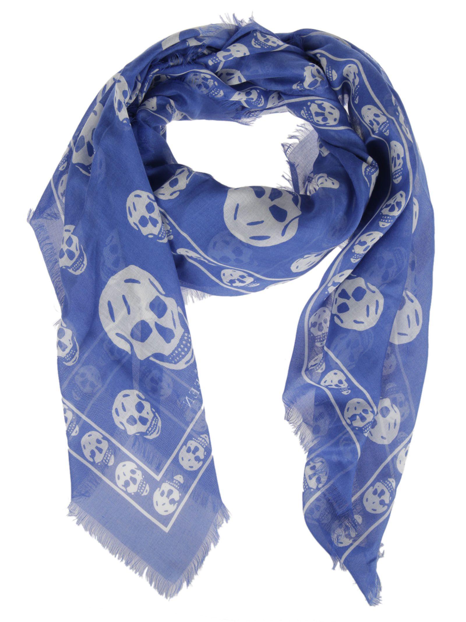 mcqueen mcqueen skull scarf blue