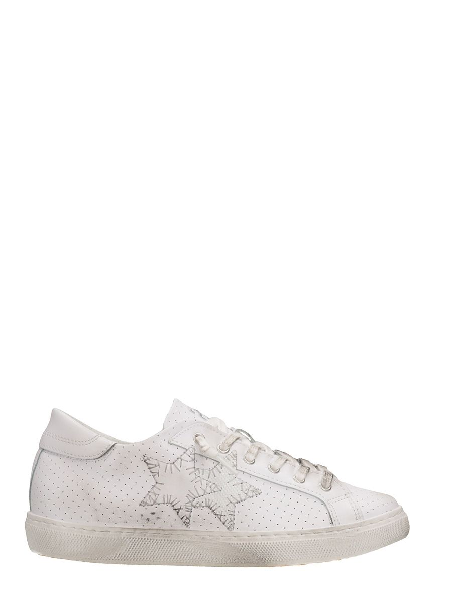 2Star Low White Perforated Leather Sneakers