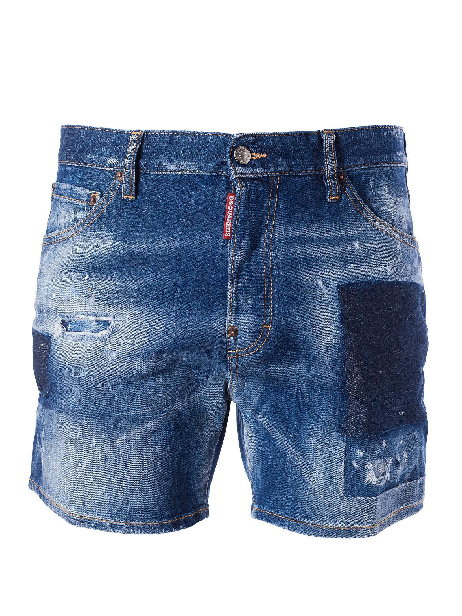 Dsquared2 Distressed Patch Denim Shorts