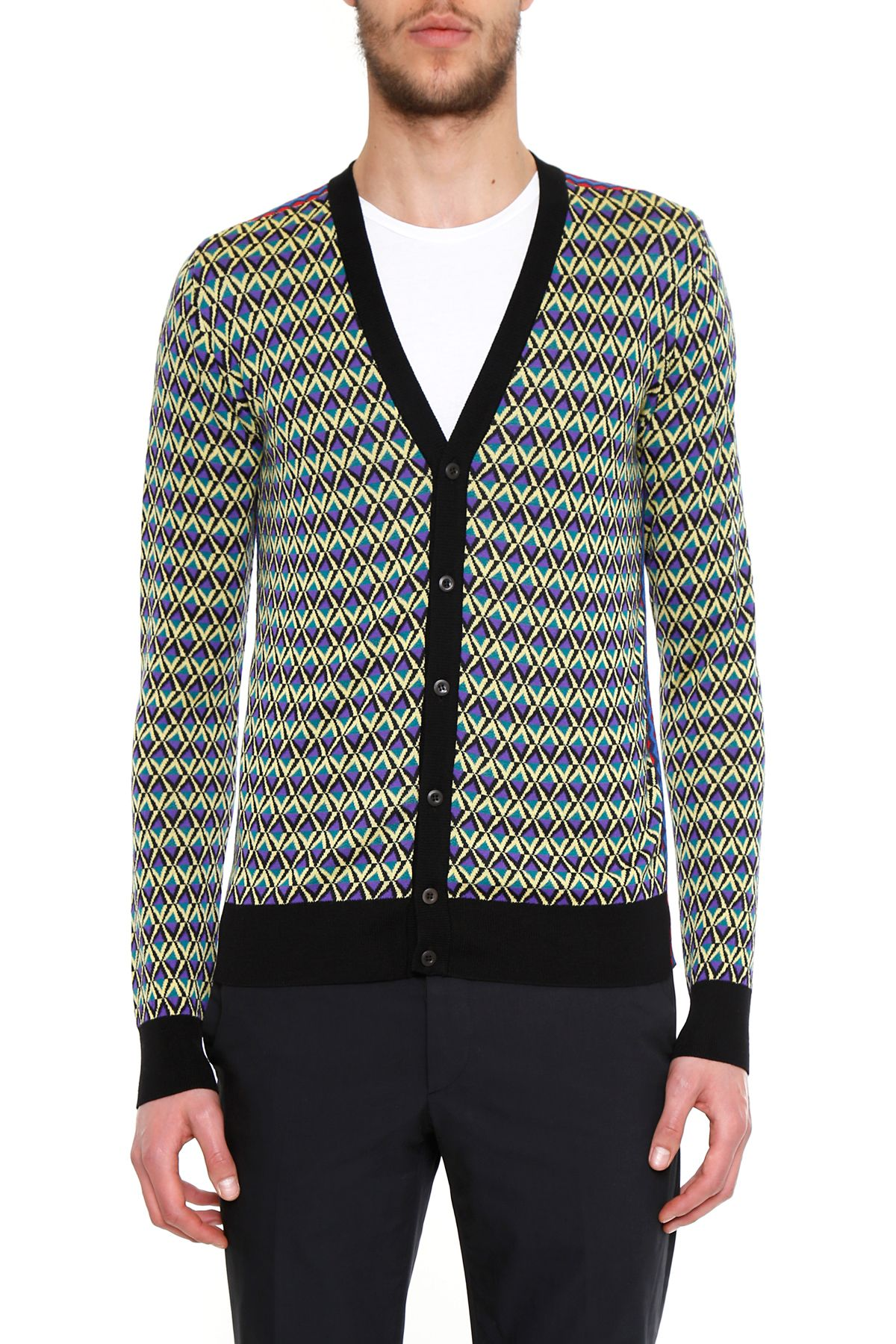 Jacquard Wool Cardigan