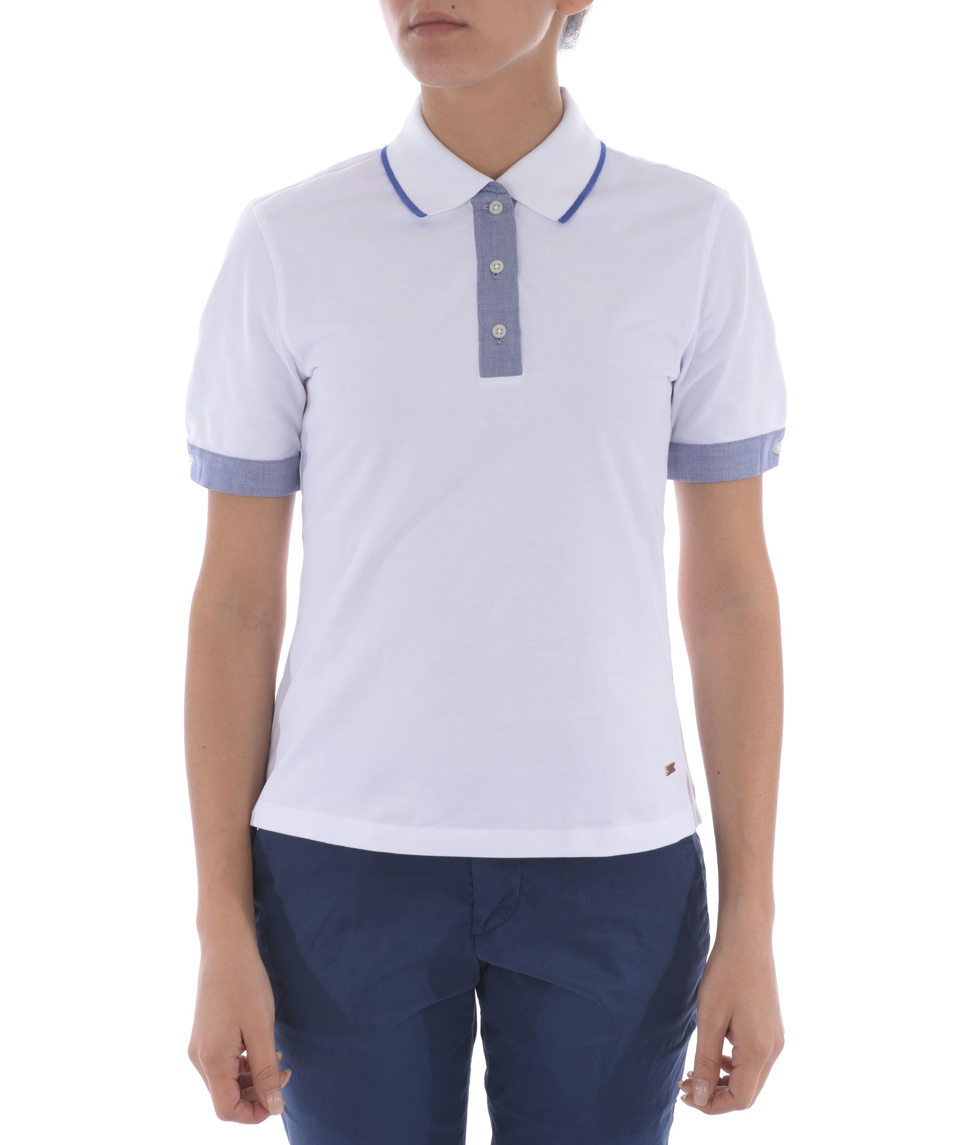 Fay Contrast Detail Polo Shirt