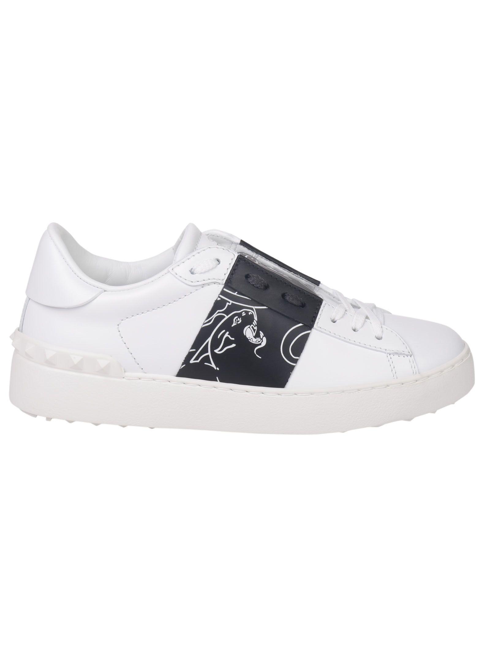 valentino garavani valentino garavani rockstud panther open sneakers nero bianco women 39 s. Black Bedroom Furniture Sets. Home Design Ideas