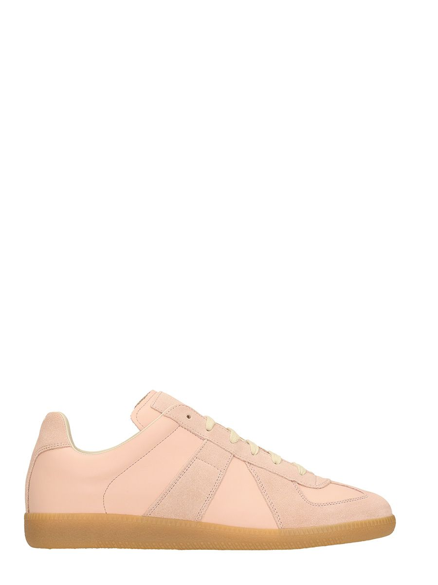 Maison Margiela Pink Replica Leather And Suede Sneakers