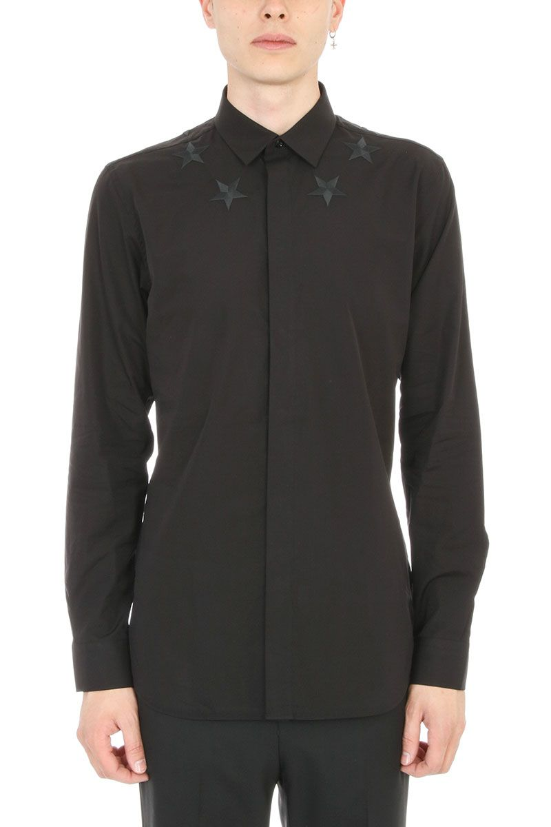Givenchy Star Embroidered Cotton Black Shirt