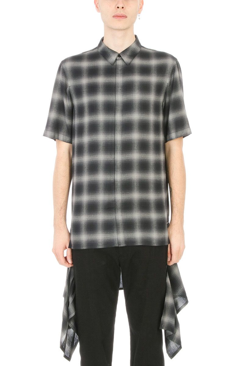 Helmut Lang Zip Panel Grey-black Cotton Shirt