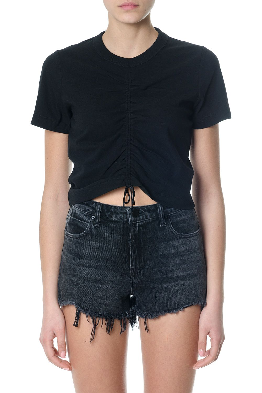 Alexander Wang Black Front Gathered Cotton T-shirt