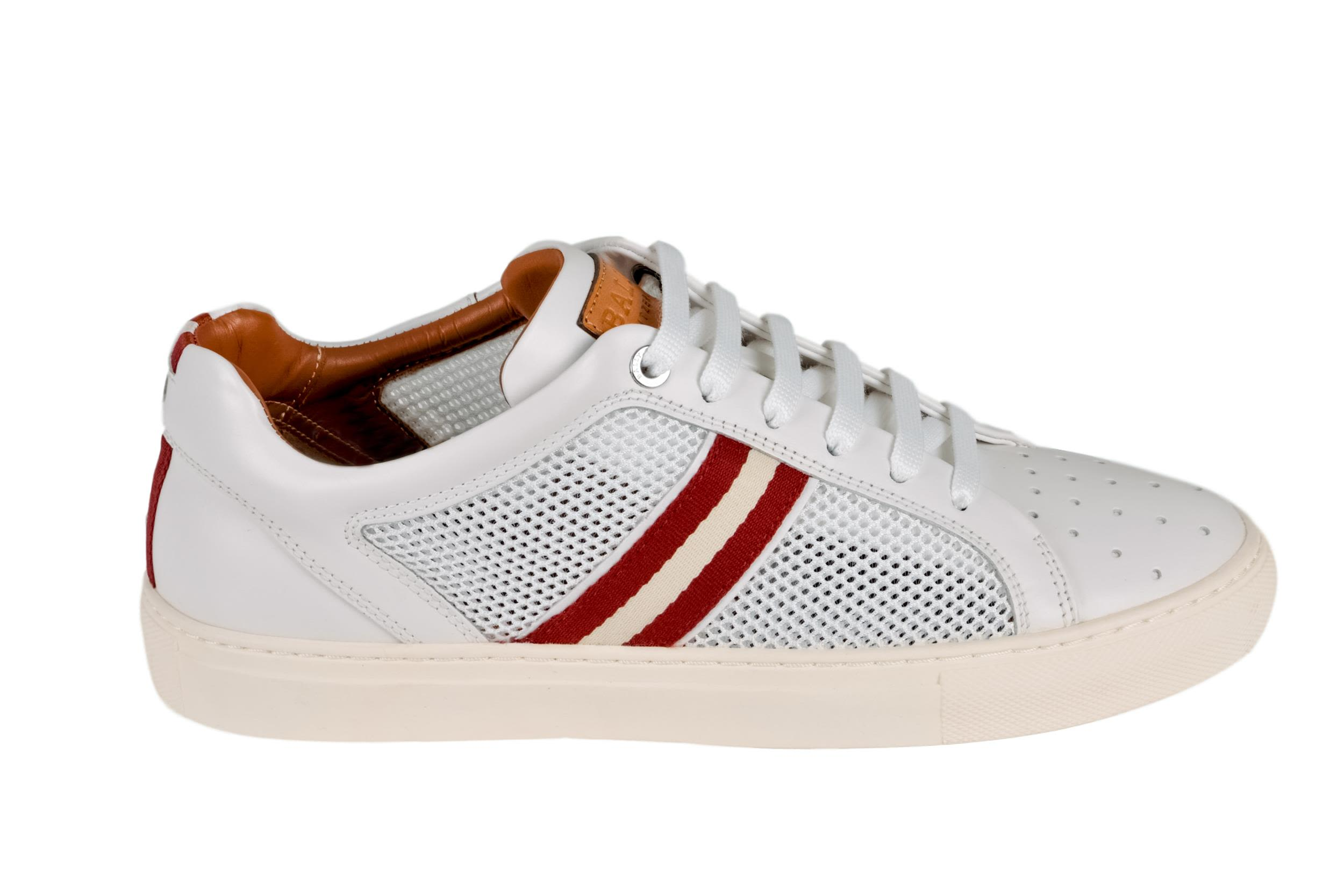 Mens Calf Leather And Mesh Low-top Sneaker In White