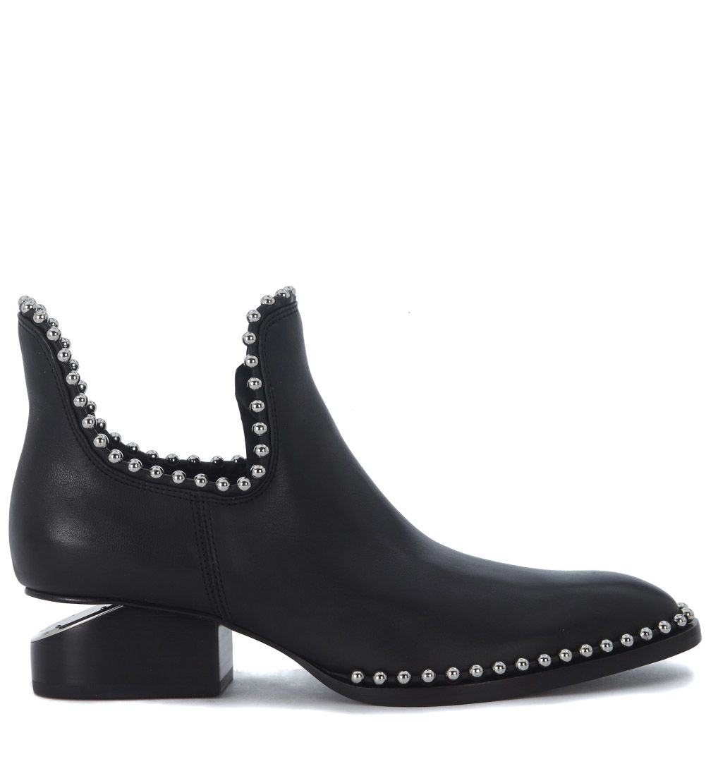 Alexander Wang Kori Black Leather Ankle Boots With Metal Details