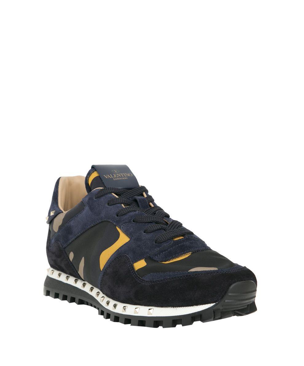 Valentino Garavani - Valentino Garavani Leather Studded Sneakers - Giallo, Men's Sneakers | Italist