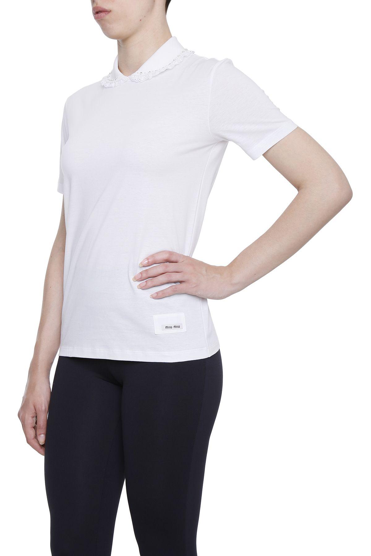 Miu miu jersey t shirt with embroidered collar bianco for Miu miu t shirt