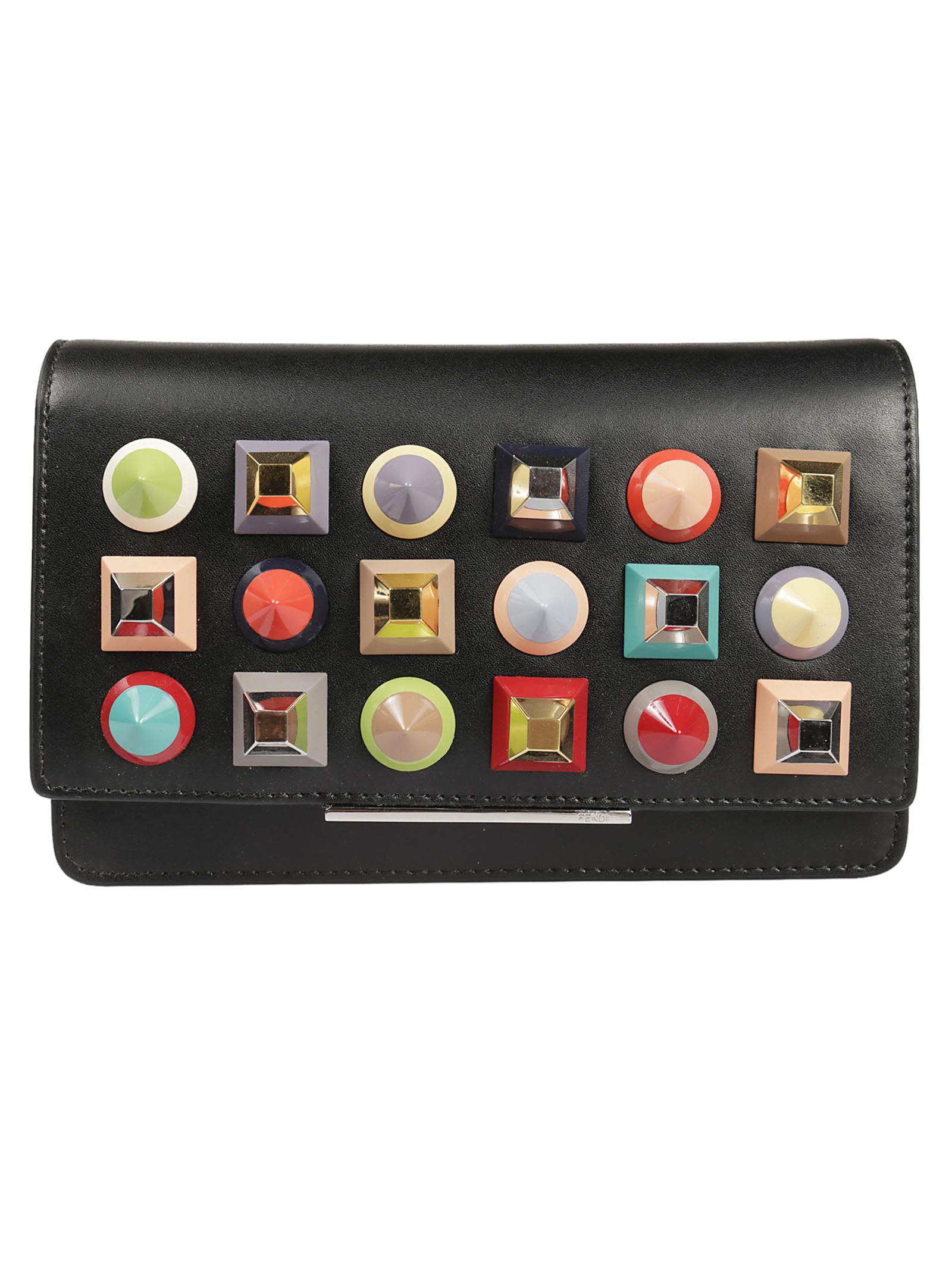 Fendi Studded Folder Chain Wallet 9345617