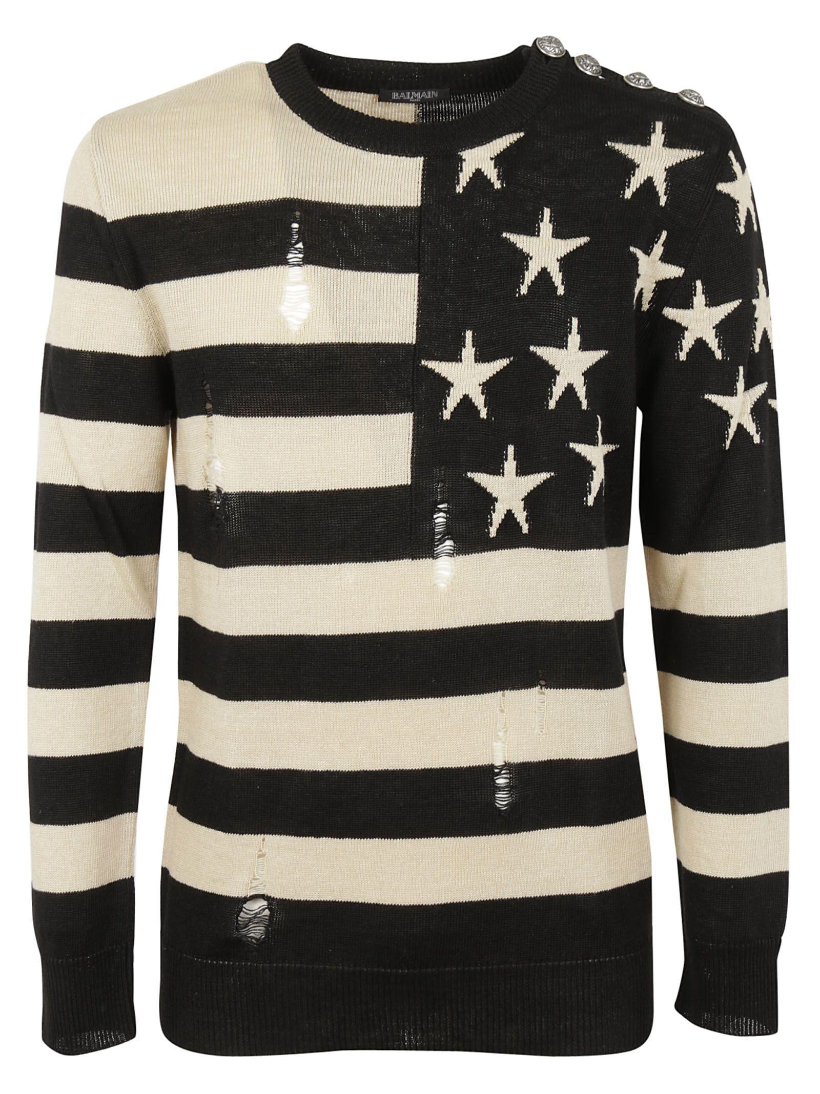 Balmain Stars And Stripes Pullover