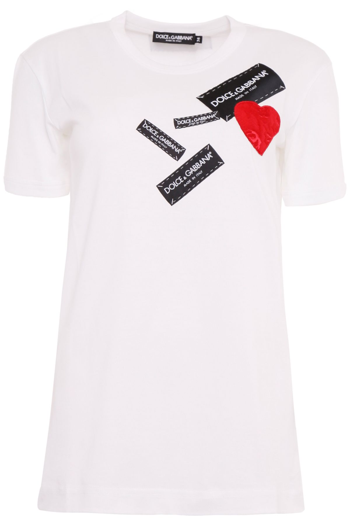 Short-Sleeve Jersey T-Shirt With Tag Heart Applique in W0800 White