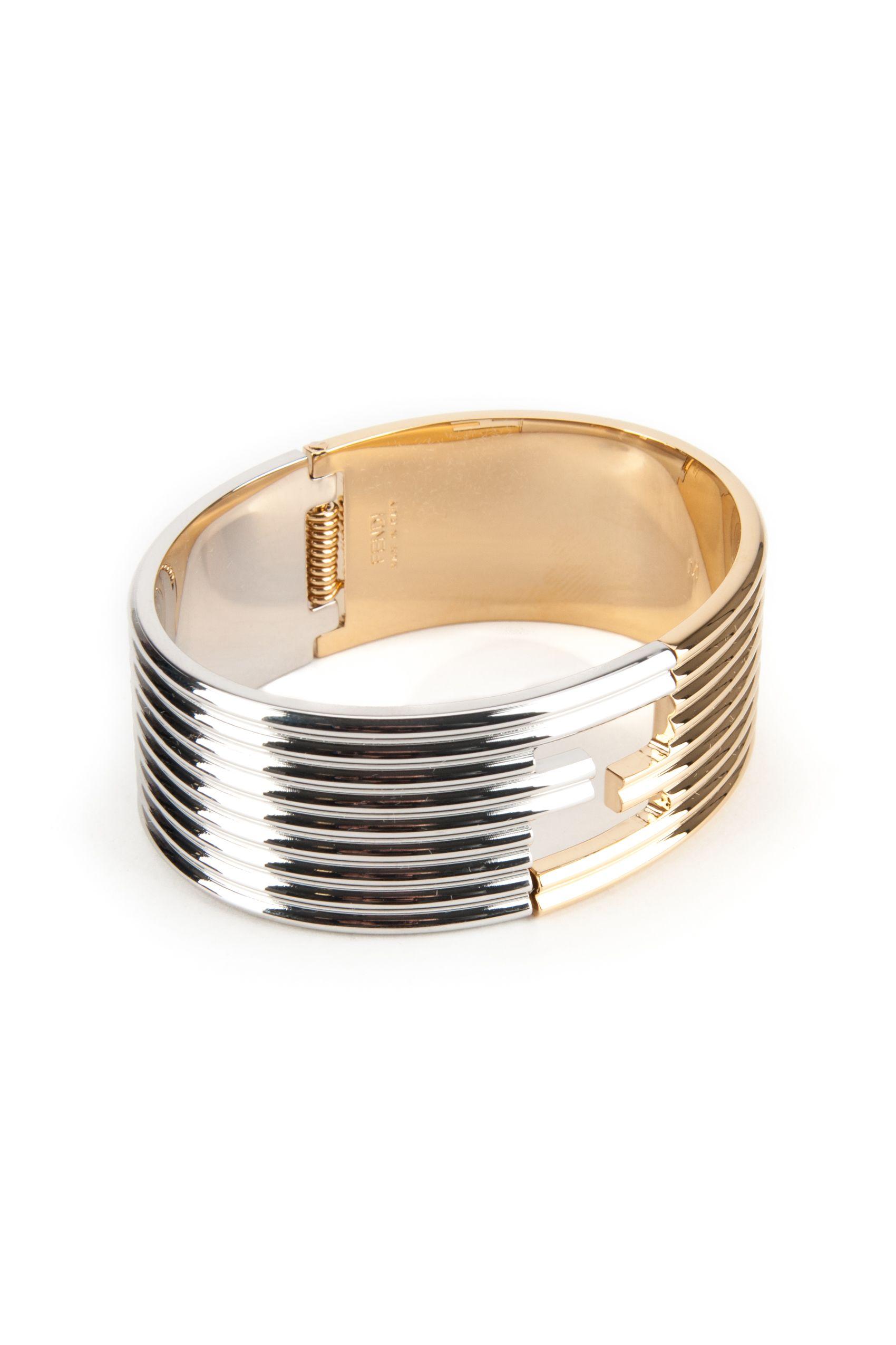 FENDI Solid Metal Bracelet in Oro Soft+Palladio|Metallico