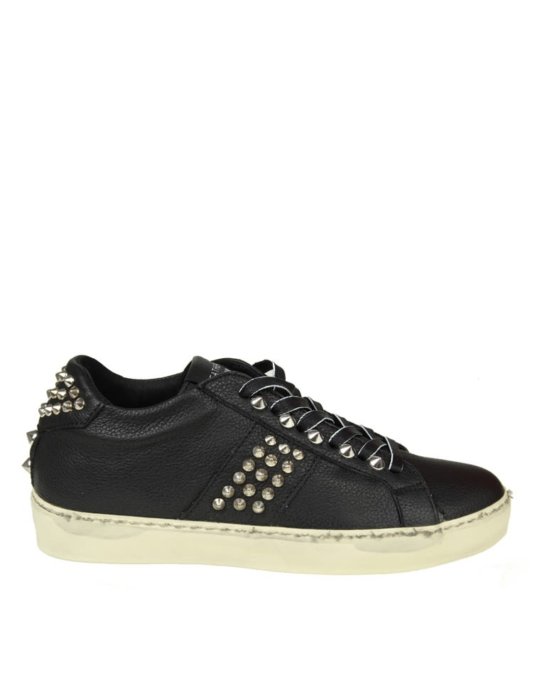 Leather Crown Sneakers In Black Leather With Silver Studs