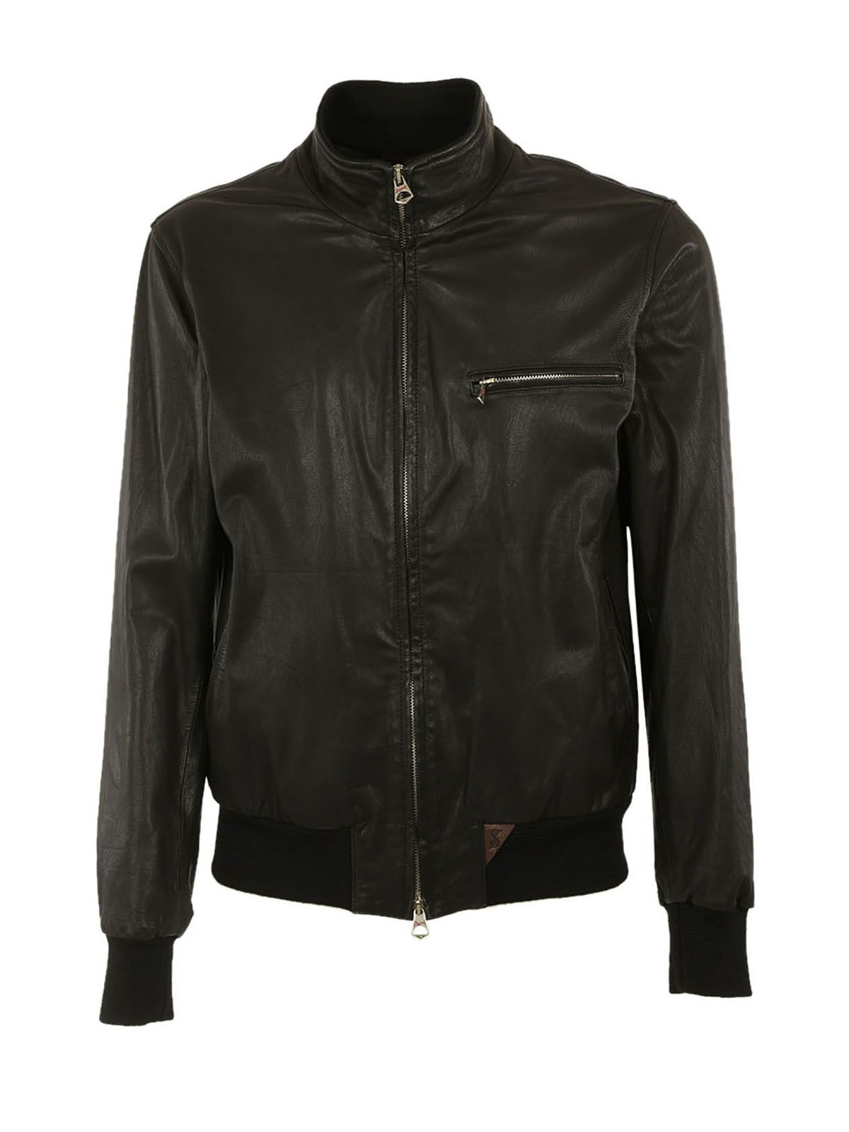 STEWART Chest Pocket Leather Jacket in Black