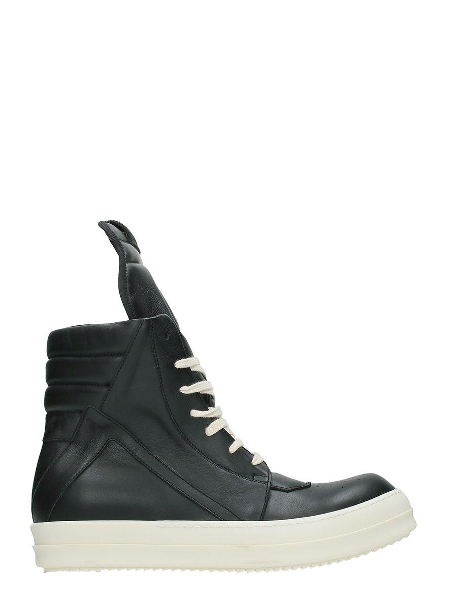 Rick Owens Geobasket Black Leather Sneakers