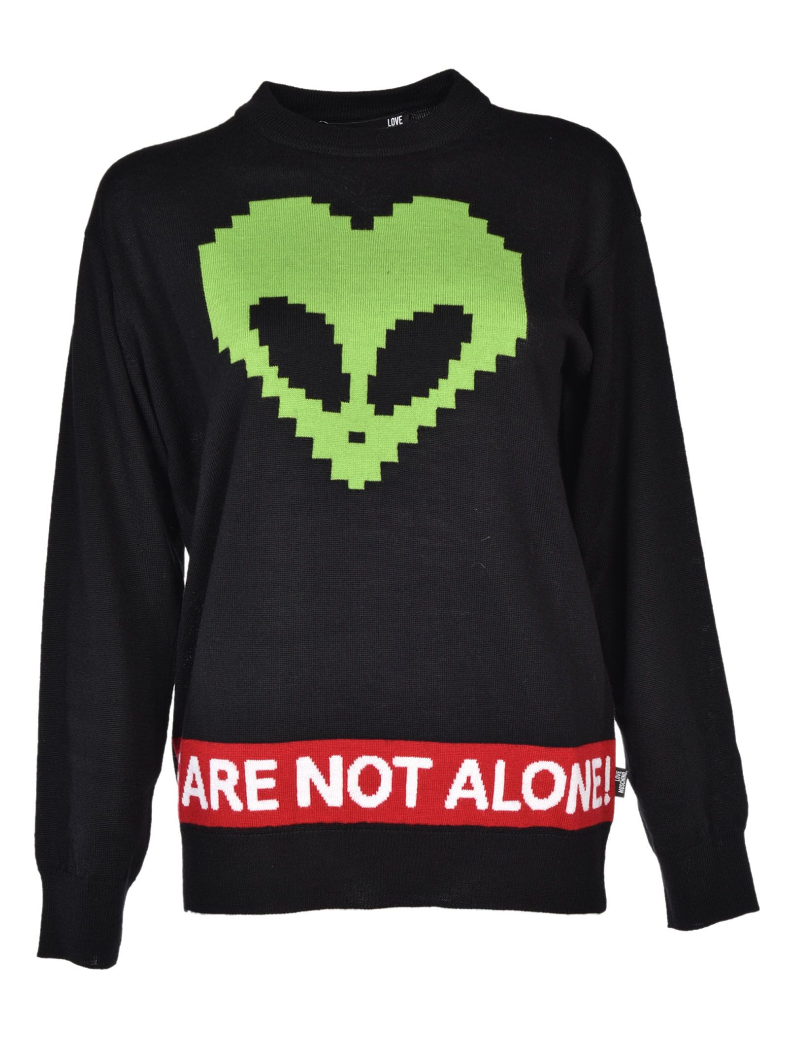 love moschino love moschino alien print sweater black women 39 s sweaters italist. Black Bedroom Furniture Sets. Home Design Ideas