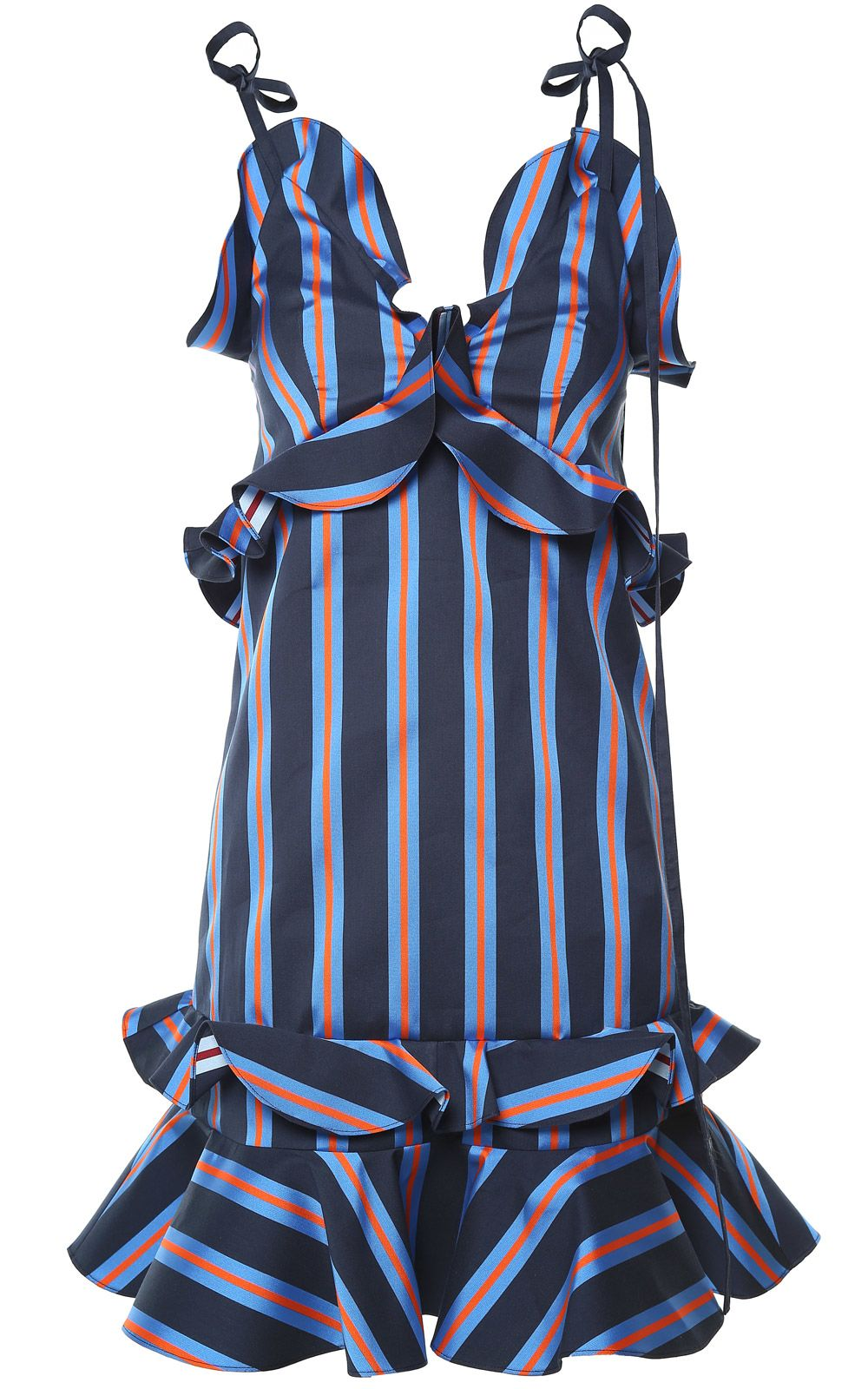 Kenzo Ruffle-trim Striped Mini Dress